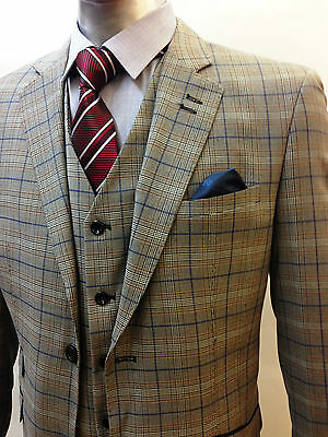 Designer Mens Checked Vintage 3 Piece Suit Blazer Jacket