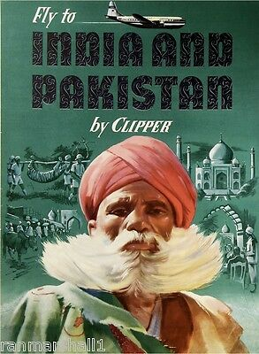 Fly India and Pakistan by Clipper Vintage Travel Art Advertisement Poster