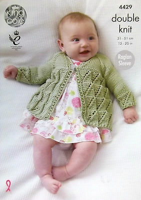 "King Cole DK Knitting pattern Baby matinee coat cardigan angel top  12-20"" 4429"
