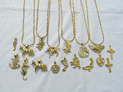"22k GP Charm Necklace Eagle Nefertiti Unicorn Cross Anchor Dove Lion 20""Chain"