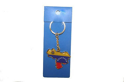 Venezuela Country Shape Flag  Metal Keychain .. New