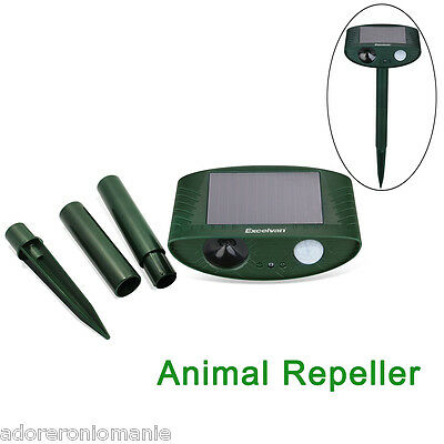 NEW Ultrasonic Garden Animal Repeller Chaser Cat Dog Deer Control Scarer Solar