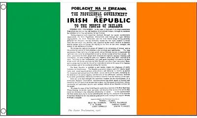 5ft x 3ft (150 x 90cm) Easter Proclamation Ireland Irish Tricolour Banner Flag
