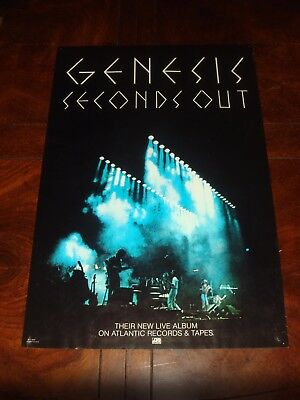 """Ultra Rare GENESIS """"SECONDS OUT"""" 1977 ATLANTIC RECORDS PROMO POSTER"""