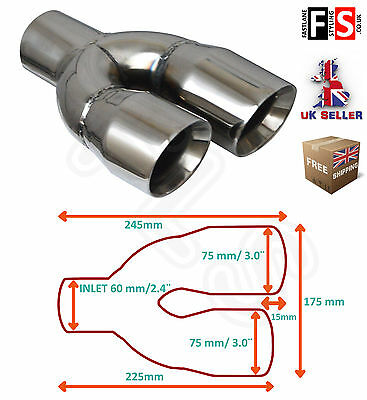 """Universal Stainless Steel Exhaust Tailpipe 2.5"""" In 3.0"""" Out Left – Bmw 1"""