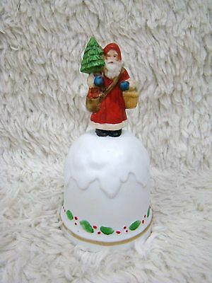 Enesco Ceramic Bisque Holiday Santa with Tree and Holly Bell Figurine, Decoratve