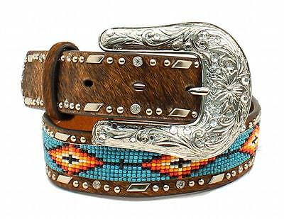 Ariat Western Girls Belt Leather Beaded Rhinestones Brown/Multi-Color A1302602
