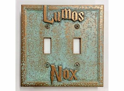 Lumos/Nox Harry Potter Double Light Switch Cover - Aged Copper/Patina or Stone