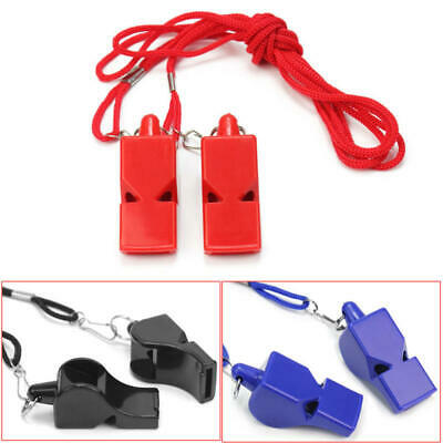 2X Football Soccer Sports Referee Whistle Emergency Survival Kit + Lanyard