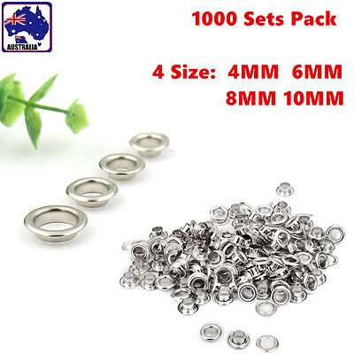 1000 Sets Iron Eyelets Washers Grommet 4MM 6MM 8MM 10MM Craft Leather TPEYE 20