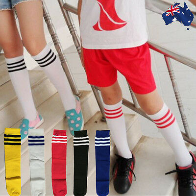 Kids Unisex Soccer Socks Sport Football Above Knee Tube Stocking White OFSOC00