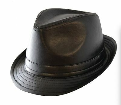 Black Retro Leather Look Trilby Hat