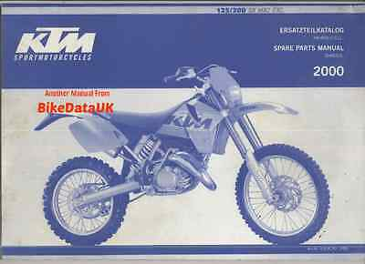 "KTM 125/200 SX/MXC/EXC (2000) Fully Illustrated Parts List/Catalogue VMX ""CYCLE"""