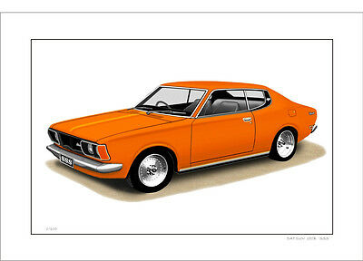 Datsun  180B  Sss  610  Coupe     Limited Edition Car Print Automotive Artwork