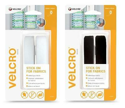 VELCRO® Brand Stick On For Fabrics - 19mm x 60cm White or Black Tape
