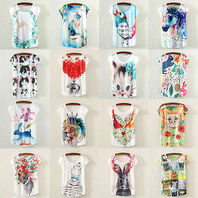 Wholesale 15Piece Women Short-Sleeves Cute 3D Printed Cotton Lady T Shirts