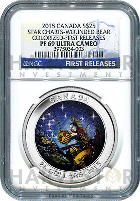 2015 Canada Silver Star Charts - The Wounded Bear - Ngc Pf69 First Releases -New