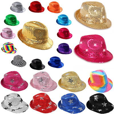 Fasching Pailletten Trilby Glitzerhut Karneval JGA Mütze Party ❤ #Sterne #LED ❤