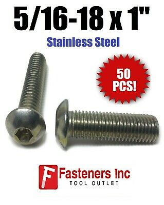 "(Qty 50) 5/16-18 x 1"" Button Head Socket Cap Screw Stainless Steel Screws UNC"