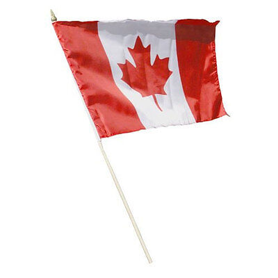 """Canada Country Small 4 X 6  Mini Stick Flag With 10"""" Plastic Pole .. New"""
