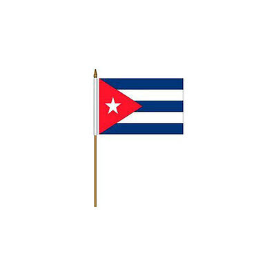 """Cuba Country Small 4 X 6  Mini Stick Flag With 10"""" Plastic Pole .. New"""
