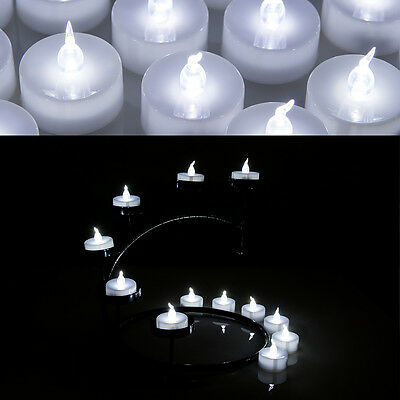 24 LED Cool White Flicker Tealight Electronic Timing Candles Lights with Timer