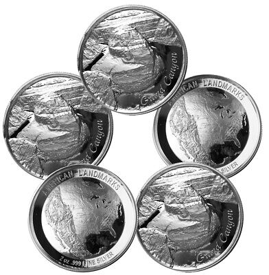 2 oz Elemetal Grand Canyon Ultra High Relief Silver Round .999 (New, Lot of 5)