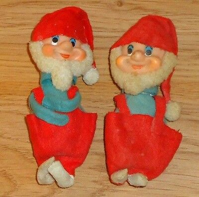 Vintage Christmas Elves felt plastic faces set of 2 Japan