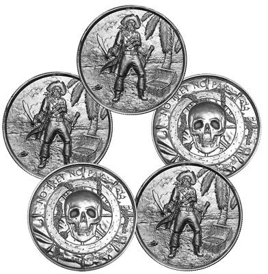 2 oz Elemetal The Captain Ultra High Relief Silver Round .999 (New, Lot of 5)