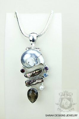Nice! Shell Pearl Smokey Topaz 925 SOLID Silver Pendant + 4MM Chain