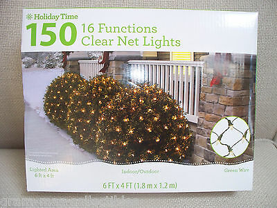 150 Clear 16 Functi0N Net Lights Lighted Area 6 Ft X 4 Ft Or 24 Sq Ft Green Wire
