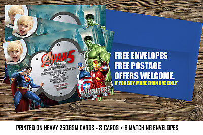 i037 Avengers super hero Personalised Invitations or Thank you cards; Any age