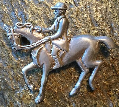Fox Hunt Hunting  Horse and Rider Silver Pin Saddle Seat