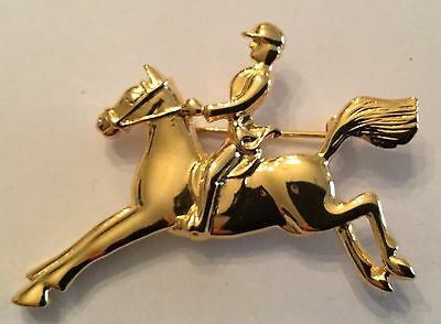 Fox Hunt Hunting  Horse and Rider Jumper Costume Gold Pin