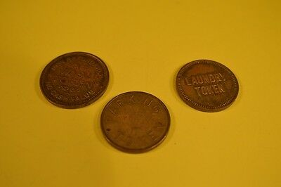 Lot of 3 TOKENS - 1 PARKING  &  2 LAUNDRY  Exonumia  metal coins collectible  VG