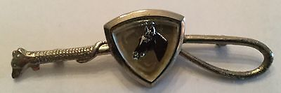 Crop Horse Head in Triangular Crystal Costume Jewelry Silver Pin