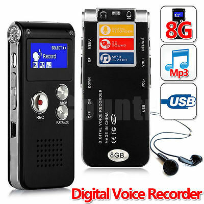 8GB Steel Digital Voice Recorder Dictaphone Recording Sound Recorder Mp3 Player