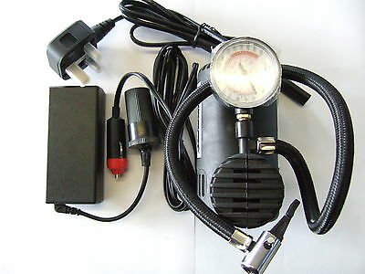 12V Air Compressor (Tyre Inflator) and Mains Power Supply Converter.