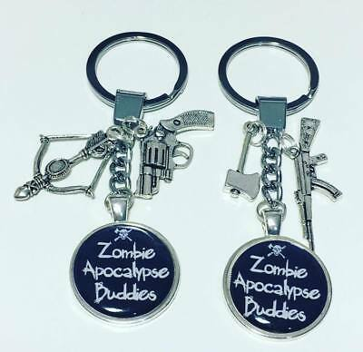 Zombie apocalypse buddies set of 2 keyrings *Valentines Day * friends * Free P&P
