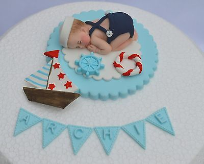 Edible personalised sailor baby  Christening  /1st  birthday cake topper
