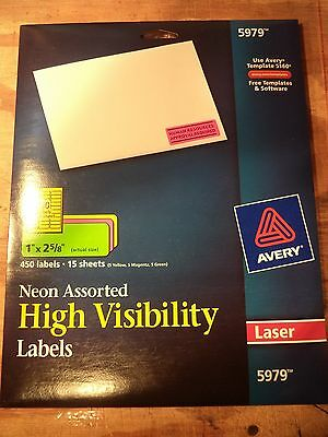 "Avery 5979 Neon Laser Labels, Full Sheet, 1""x2-5/8"", 450/PK, Assorted"