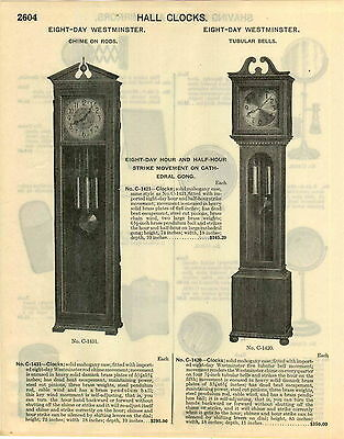 1929 PAPER AD 8 Eight Day Westminster Grandfather Clock Hall Clocks Tubular Bell