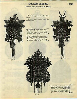 1929 PAPER AD Hand Carved Walnut Black Forest Natives Cuckoo Clock Quail