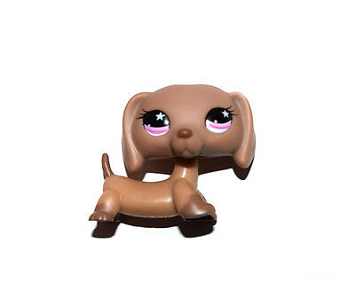 Littlest Pet Shop Animal Puppy Pink Eyes Brown Tan Dog Figure Child Toy UK