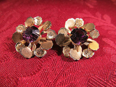 Vintage Silvertone Crystal Amethyst Womens Collar Fashion Pins