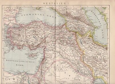 1893 * 2 Landkarten West Asien * Original Drucke / Antique Maps * Landkarte Map