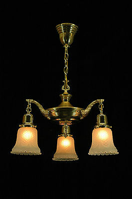 Antique Early 1900's Restored Two Tone Brass And Gold 3 Arm Pan Fixture