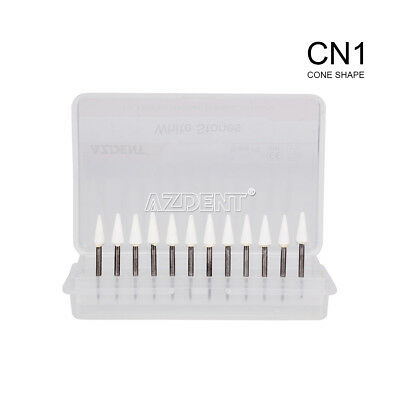 Dental Cone White Stone Polishing FG Burs 12pc/pk Abrasion CN1 Points Bur