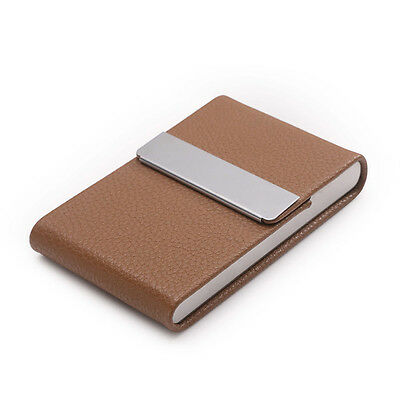 Men Women Stainless Steel PU Leather Mini Business Credit Name Card Cases Holder