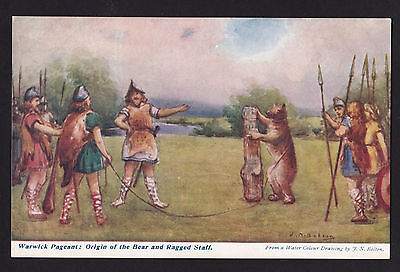 c1907 artist signed Bolton Bear & Staff Warwick Pageant Fair UK postcard